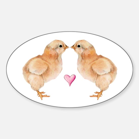 Baby Chick Love Oval Decal