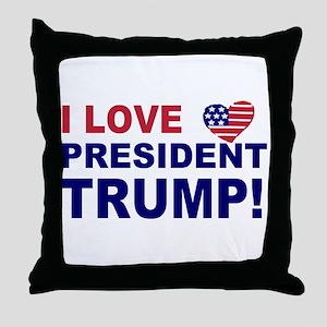 I Love President Trump Throw Pillow