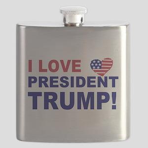 I Love President Trump Flask
