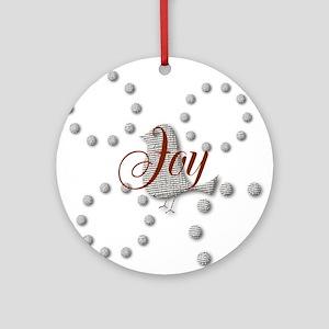 Cute Joy The World Christmas Bird Round Ornament