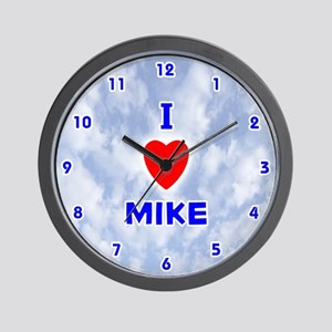 I Love Mike (Blue) Valentine Wall Clock