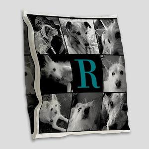 Elegant Monogram Photoblock Burlap Throw Pillow