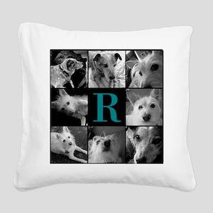 Elegant Monogram Photoblock Square Canvas Pillow