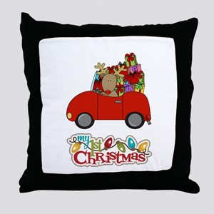 My 1st Christmas Driving Reindeer Throw Pillow