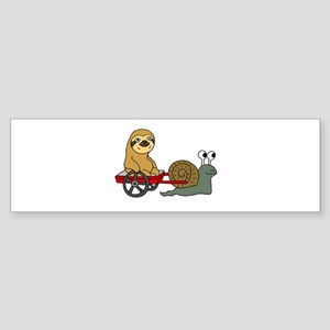 Snail Pulling Wagon with Sloth Bumper Sticker