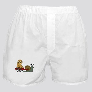 Snail Pulling Wagon with Sloth Boxer Shorts