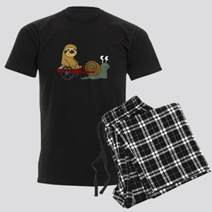 Snail Pulling Wagon with Sloth Men's Dark Pajamas