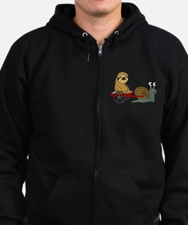 Snail Pulling Wagon with Sloth Zip Hoodie (dark)