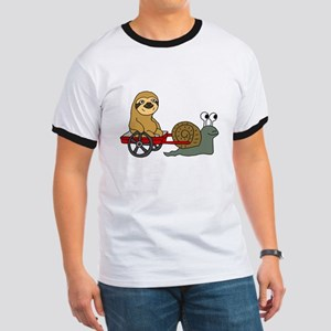 Snail Pulling Wagon with Sloth T-Shirt