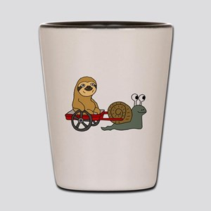 Snail Pulling Wagon with Sloth Shot Glass