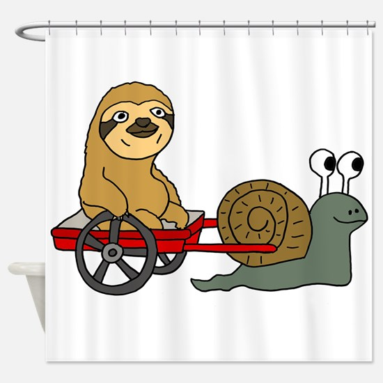 Snail Pulling Wagon with Sloth Shower Curtain