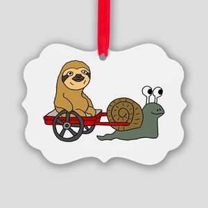 Snail Pulling Wagon with Sloth Picture Ornament