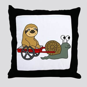 Snail Pulling Wagon with Sloth Throw Pillow