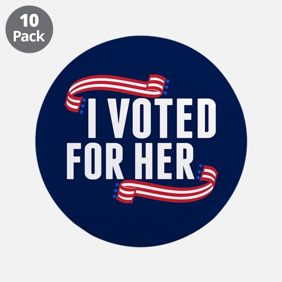 """Voted Hillary 3.5"""" Button (10 pack)"""
