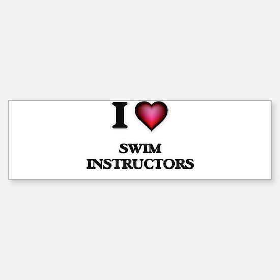 I love Swim Instructors Bumper Car Car Sticker
