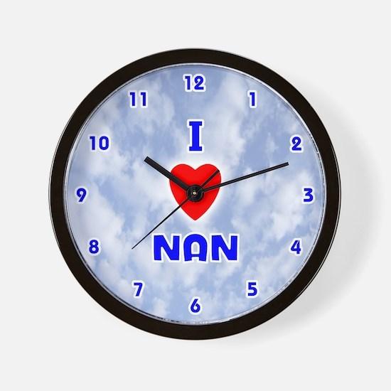 I Love Nan (Blue) Valentine Wall Clock
