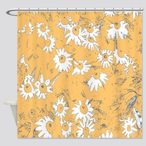 White Coneflowers with Orange Backg Shower Curtain