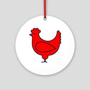 Little Red Hen Round Ornament