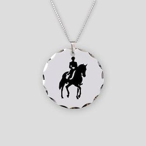 Dressage rider Necklace Circle Charm