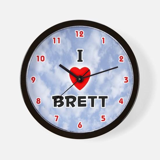 I Love Brett (Red/Blk) Valentine Wall Clock