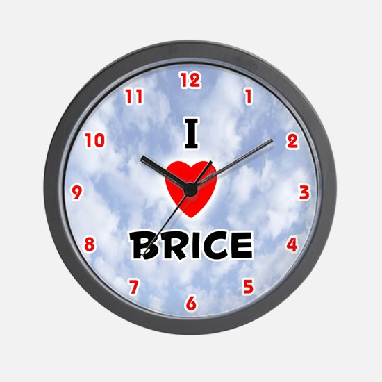 I Love Brice (Red/Blk) Valentine Wall Clock