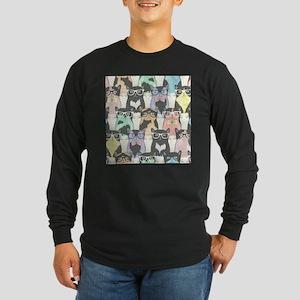 Hipster Cats Long Sleeve Dark T-Shirt