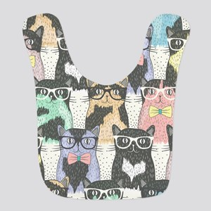 Hipster Cats Polyester Baby Bib