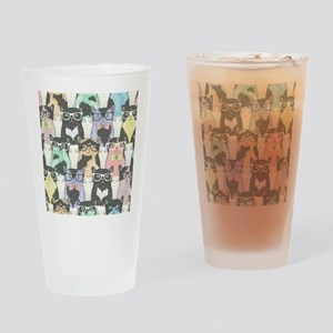 Hipster Cats Drinking Glass