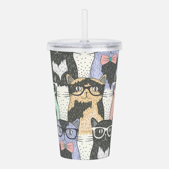 Hipster Cats Acrylic Double-wall Tumbler