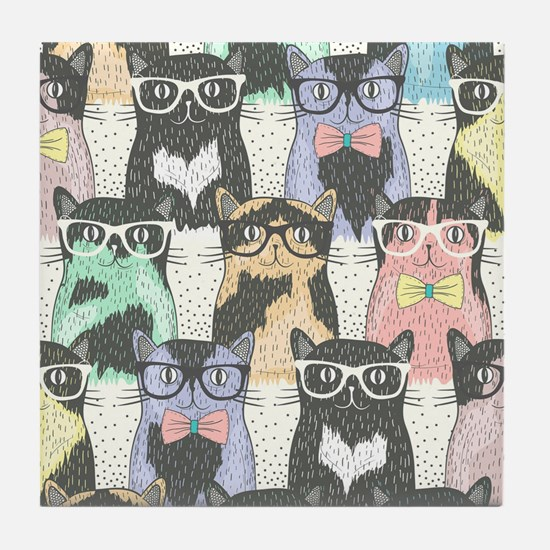 Hipster Cats Tile Coaster