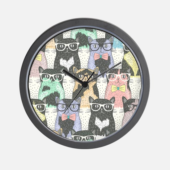 Hipster Cats Wall Clock