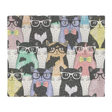Hipster Cats Throw Blanket