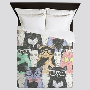 Hipster Cats Queen Duvet