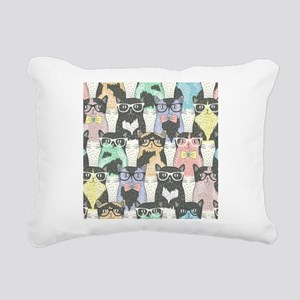 Hipster Cats Rectangular Canvas Pillow