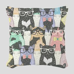 Hipster Cats Woven Throw Pillow