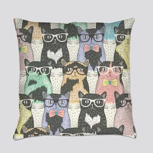 Hipster Cats Everyday Pillow