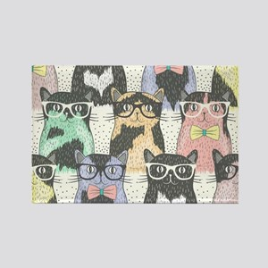 Hipster Cats Rectangle Magnet