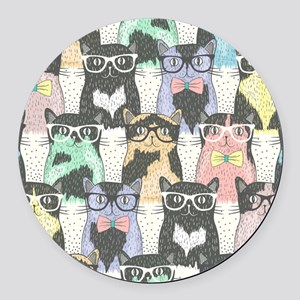 Hipster Cats Round Car Magnet