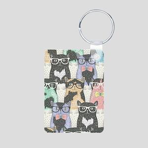 Hipster Cats Aluminum Photo Keychain