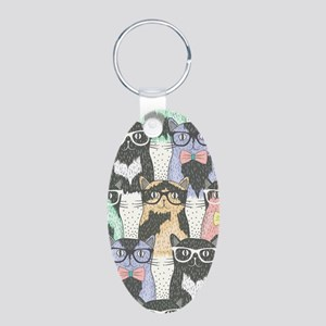 Hipster Cats Aluminum Oval Keychain