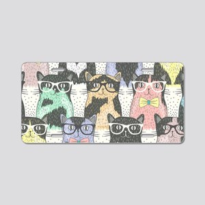 Hipster Cats Aluminum License Plate