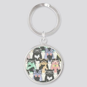 Hipster Cats Round Keychain