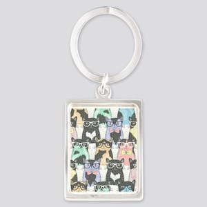Hipster Cats Portrait Keychain