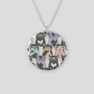 Hipster Cats Necklace Circle Charm