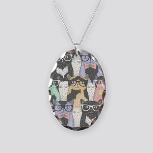 Hipster Cats Necklace Oval Charm