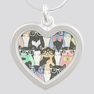 Hipster Cats Silver Heart Necklace