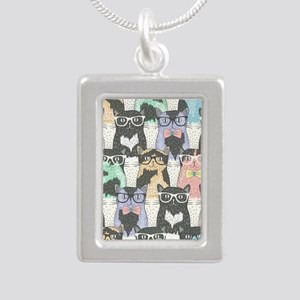 Hipster Cats Silver Portrait Necklace