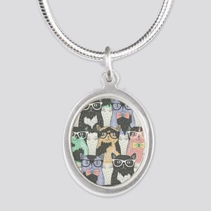 Hipster Cats Silver Oval Necklace