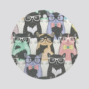 Hipster Cats Round Ornament