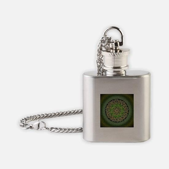Sage Celtic Art Burst Flask Necklace